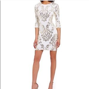 B.DARLIN white and gold sequence dress